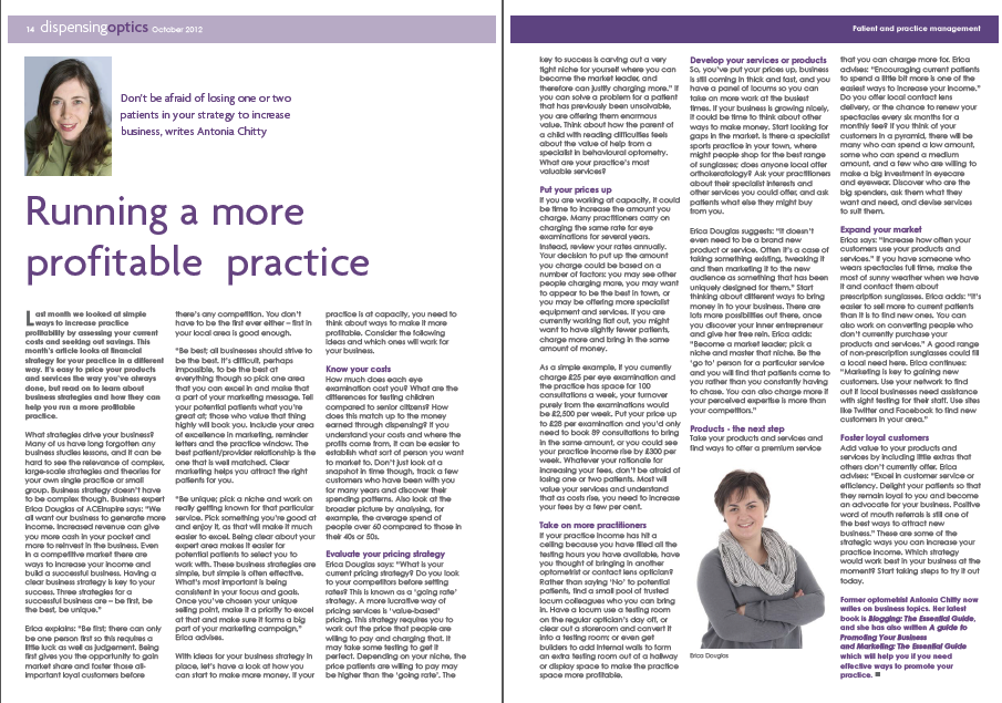 More profitable practice October 2012